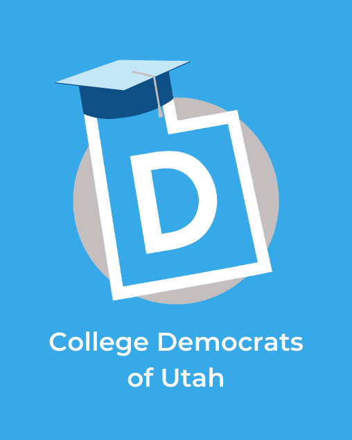 """An image of the UDP logo with a graduation cap. The image has the words """"College Democrats of Utah"""" underneath the logo."""
